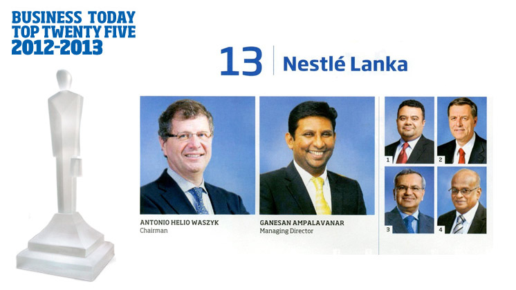 Business Today recognises Nestlé Lanka as one of Sri Lanka's Top Twenty-five corporates!